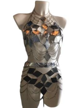 Set Farfalla - silver leather, silver chain