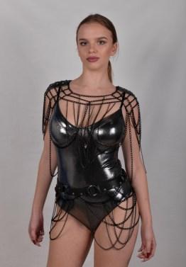 Set Gotique - black leather, black chain