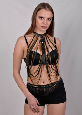 Top Hong Kong - black leather, gold and silver chain