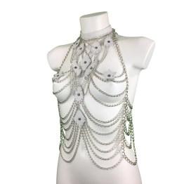 Top Paris - white leather, silver chain