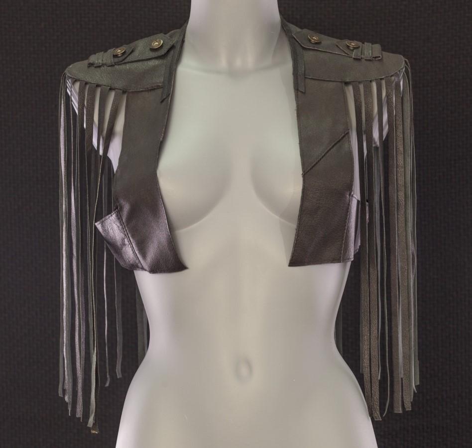 Waistcoat Tsunami - black leather