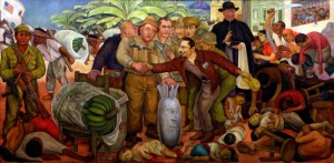 """Mural """"La gloriosa victoria"""" de Diego Rivera, alusivo al derrocamiento norteamericano de Jacobo Árbenz en 1954"""