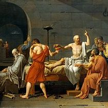 A morte de Sócrates. Óleo de Jacques-Louis David de 1787.