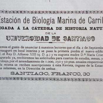 Anuncio aparecido en La Propaganda Científica (Santiago de Compostela, 10 outubro de 1900), no que Vila Nadal informaba da inauguración e posta en marcha da Estación de Bioloxía mariña