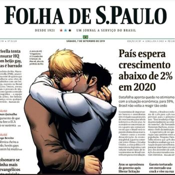 Marvel's gay kiss is featured on cover of Folha de Sao Paulo Saturday. (Screen Shot/Folha De Sao Paulo/Twitter