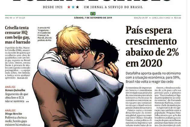 Marvel's gay kiss is featured on cover of Folha de Sao Paulo Saturday. (Screen Shot/Folha De Sao Paulo/Twitter