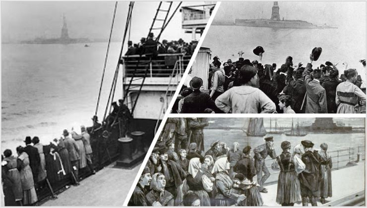 Immigrants arriving in NY harbor