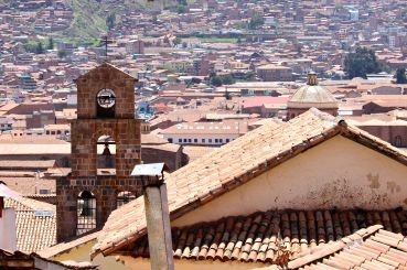 the bell tower of iglesia de san blas