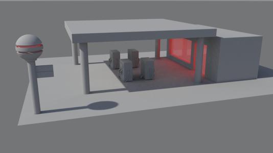 petrrol station first render night