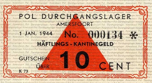 Amersfort - lager-10 cent canteen money Polizeiliches Durchgangslager for political prisoners.jpg