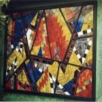 Mozaik mintás ólomüveg ablak