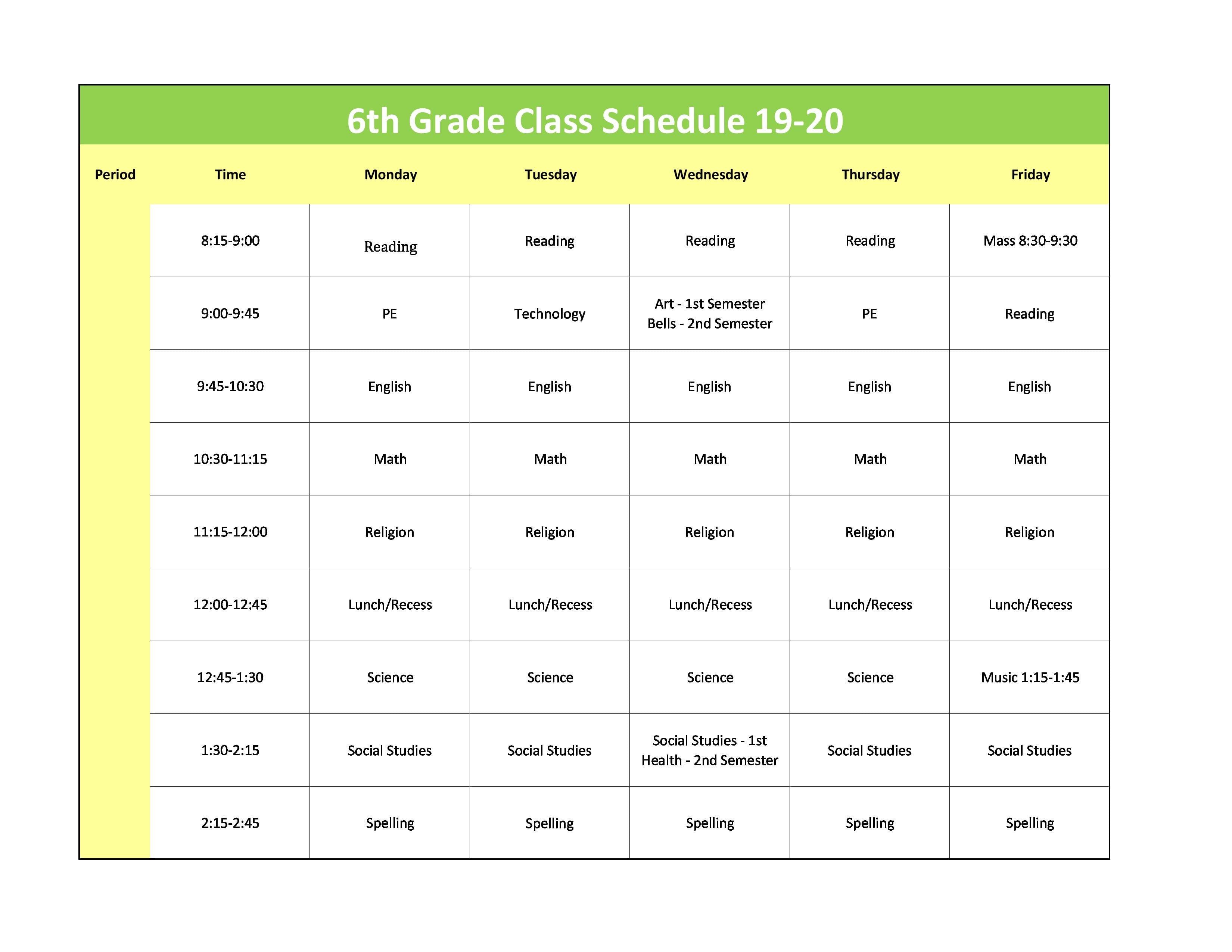 6th Grade Class Schedule 19 20