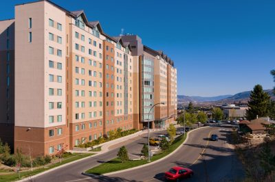 Student Housing tower on the campus of Thompson Rivers University in Kamloops