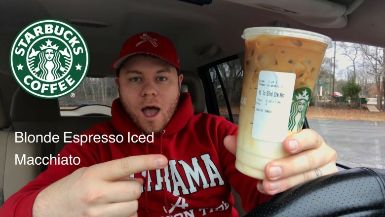 STARBUCKS BLONDE ESPRESSO ICED CARAMEL MACCHIATO DRINK REVIEW THE SHOWSTOPPER SHOWS