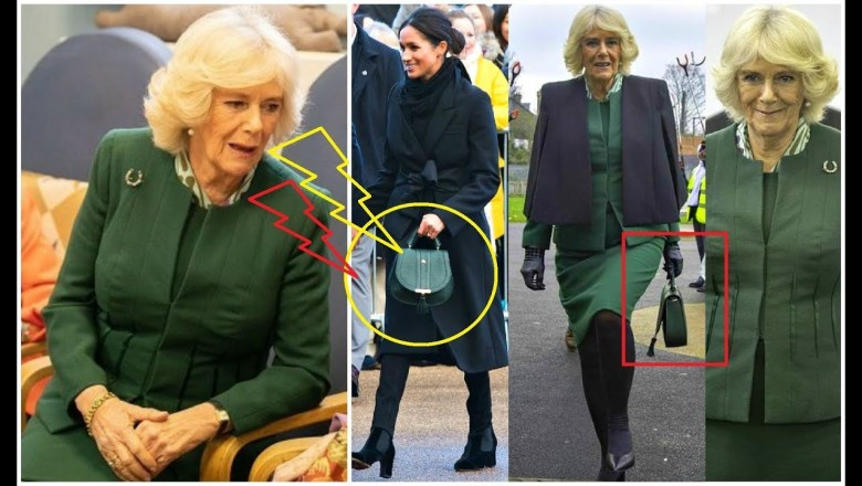 CAMILLA DUCHESS OF CORNWALL BORROWED A BAG FROM DUCHESS MEGHAN ACCESSORIES COLLECTION