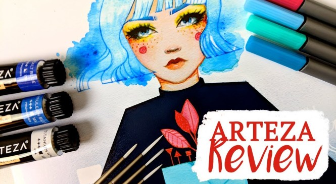 Arteza Product Review: Watercolors, Detail Brushes, and Fineliner Pens.