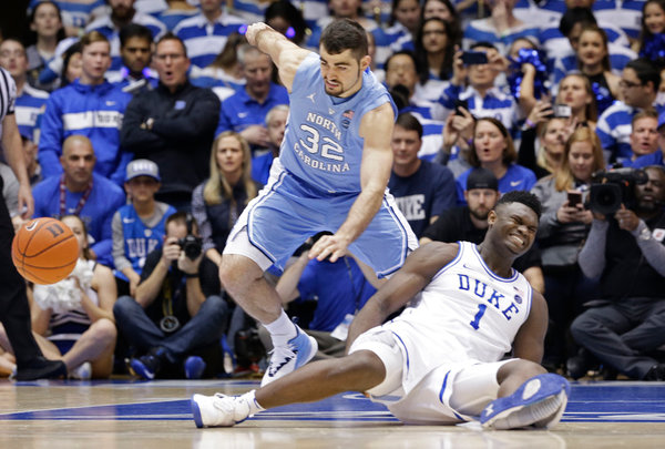 Zion Williamson Is Injured as No. 1 Duke Falls to North Carolina