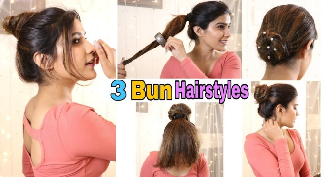 3 Easy Everyday SUMMER BUN Hairstyle For School, College, Work,Wedding | Super Style Tips