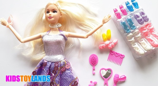 Unboxing Princess Barbie Doll Makeup kit And fashion Accessories – Naka Family Kid Tv