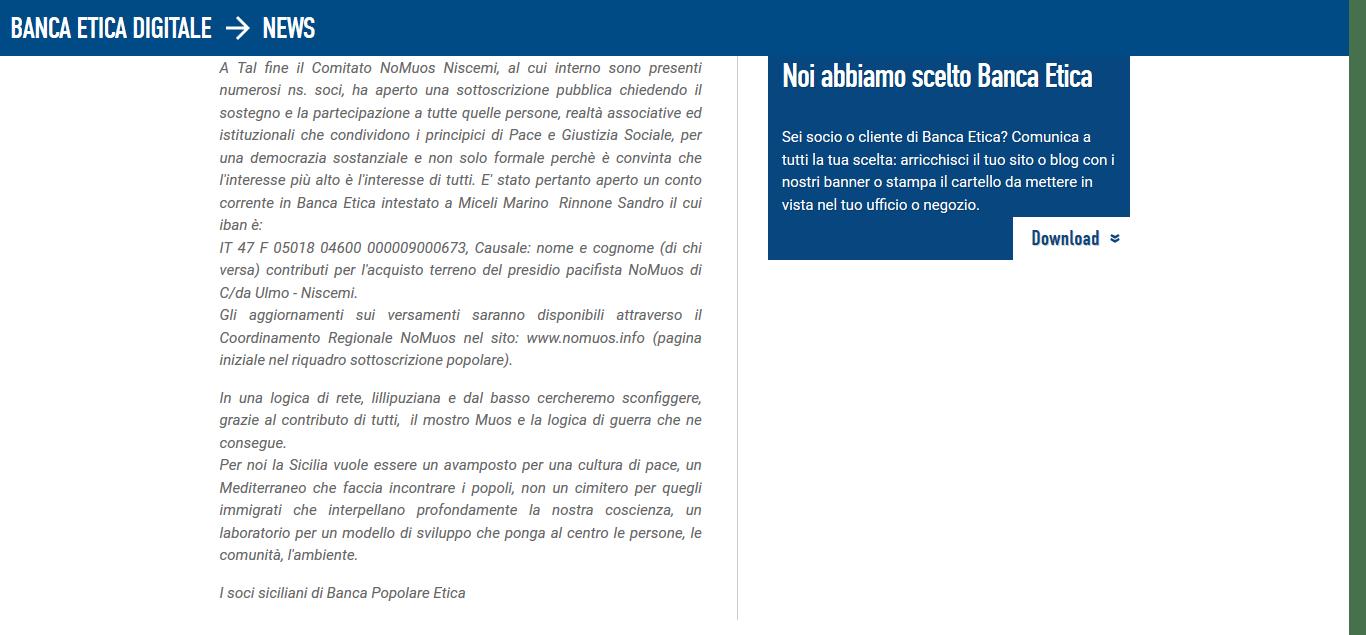 Antenne MOUS in Sicilia, la proposta dei nostri soci – Banca Popolare Etica 23-9-2017, 21-04-23