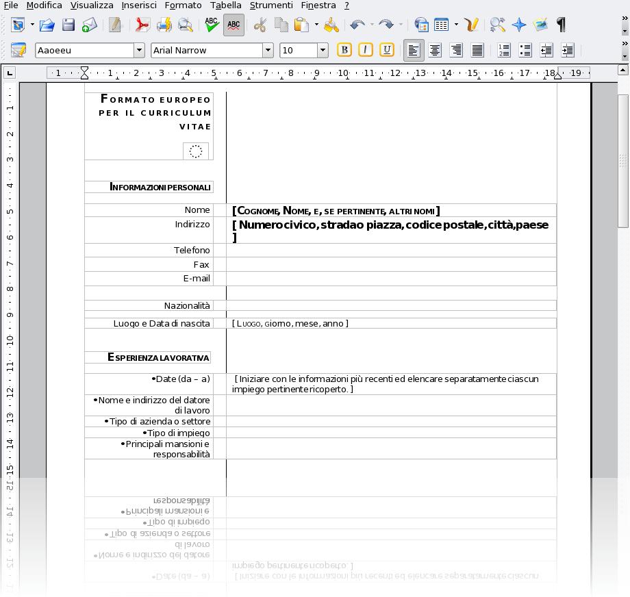 Curriculum Vitae Nuovo Formato Free Document Resume Samples