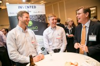Encapsio CEO Nick Kirby and CTO Wyatt Shields met with President Price to explain how their innovative silicone microspheres can be used in a variety of applications. Photo by Jared Lazarus/Duke Photography