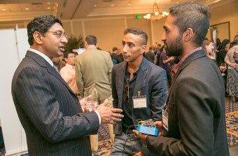 At our 1st Annual Invented at Duke Celebration, Professor Ravi Bellamkonda, Dean of the Pratt School of Engineering, chats with a Duke Alumni and a member of the local community about inventions, innovation, and entrepreneurship. Photo by Jared Lazarus/Duke Photography