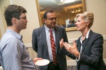 OLV Executive Director, Robin Rasor, chats with Chief of the Division of Cardiology, Manesh Patel, and Marat Fudim from the Dept. of Cardiology about innovation and entrepreneurship. Photo by Jared Lazarus/Duke Photography