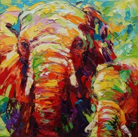 olifantenmoeder met jong 80 x 80