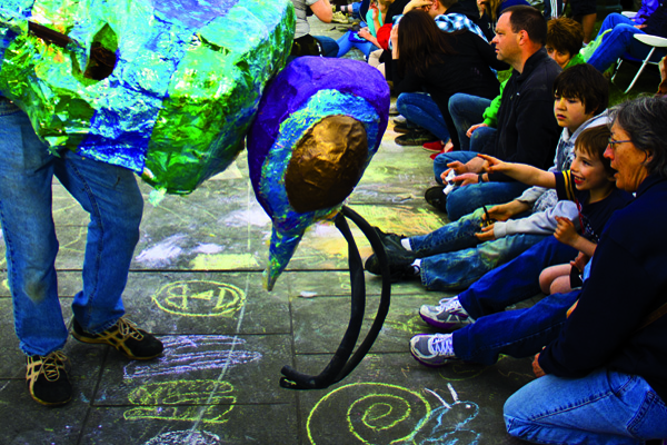 chalk art at Procession of the Species
