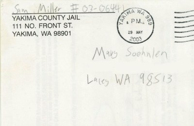 envelope from Sam Miller