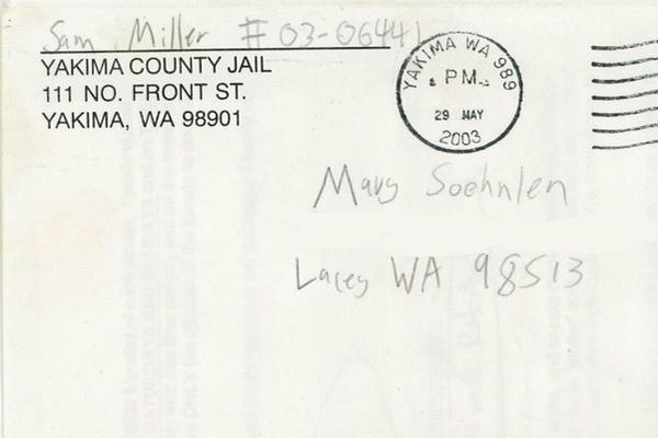 envelope from Sam Miller