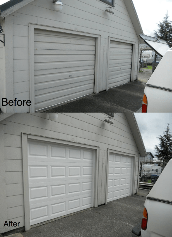 Before & After Garage DoorHung Right Doors in Olympia WA