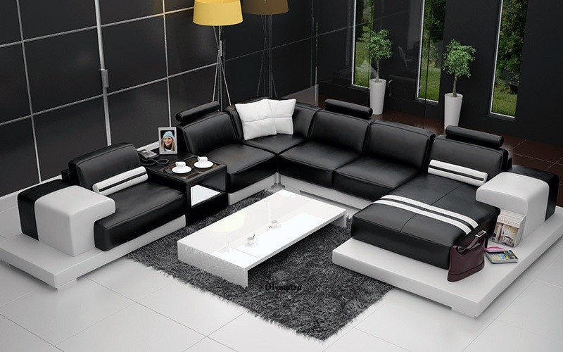 black leather sofa quick delivery kuka tamara grey fabric chaise bed olympian sofas nurburg & white
