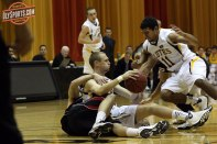 Lucas Shannon fights for a loose ball