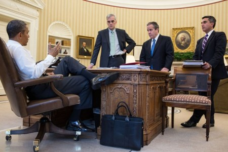 US President Obama with a Frank Clegg briefcase in Oval Office