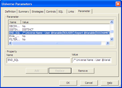 END_SQL parameter in Universe Design Tool