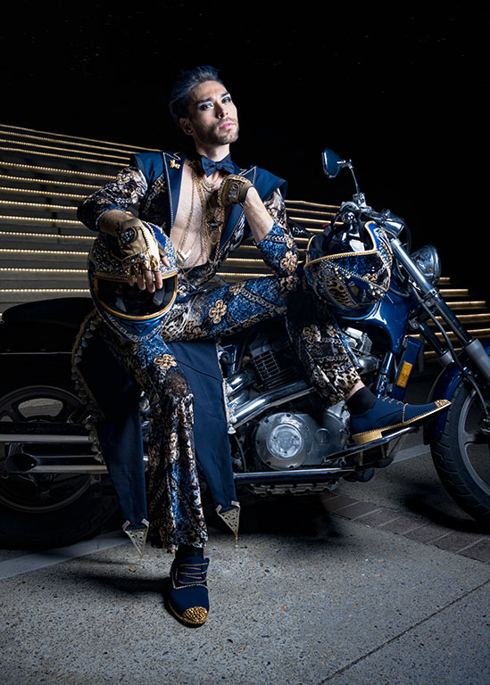 """Saki, Bowerbird at Your Service, 2021. Mixed media and restored 1989 Honda Shadow VT1100, outfit shown on a 6' 2"""" model."""