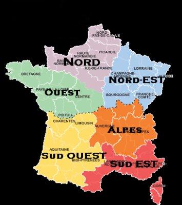carte france nord sud est ouest -