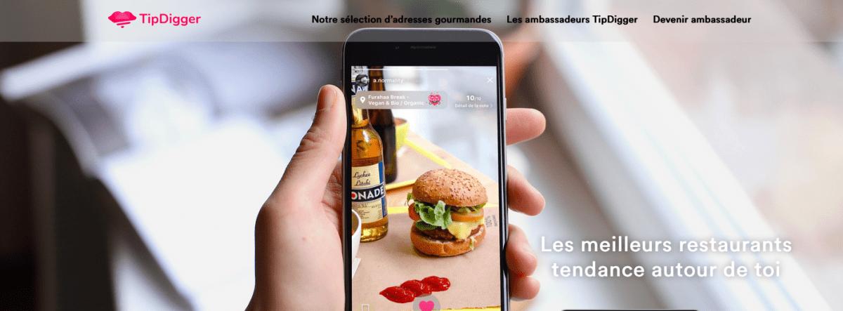 TipDigger est une application mobile gratuite, dans l'ère du temps et qui se veut centrée sur le partage de bonnes adresses culinaires.