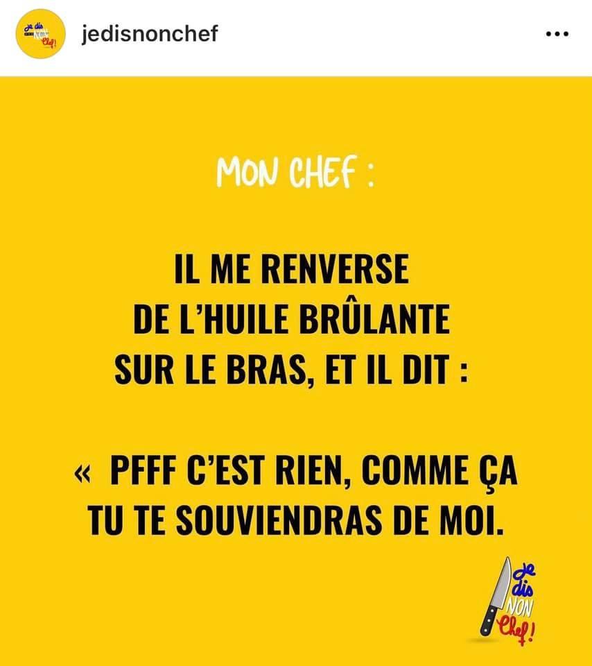 Je dis non chef, compte Instagram - citation