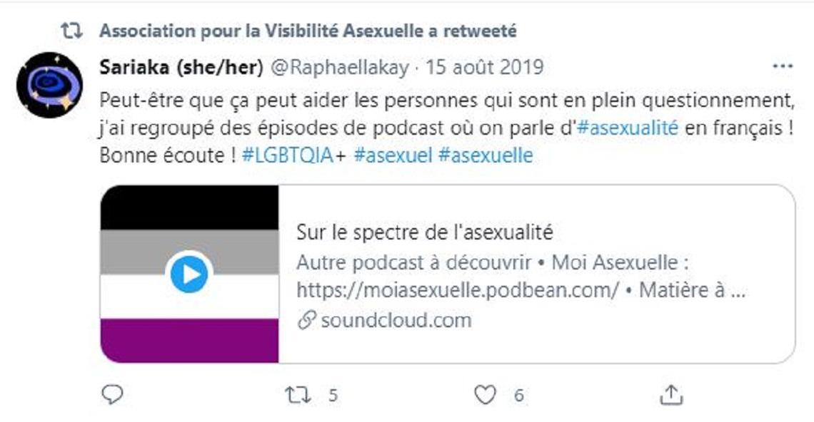 Capture d'écran du compte Twitter de l'association AVA. Oui,l'asexualité, une orientation sexuelle comme les autres