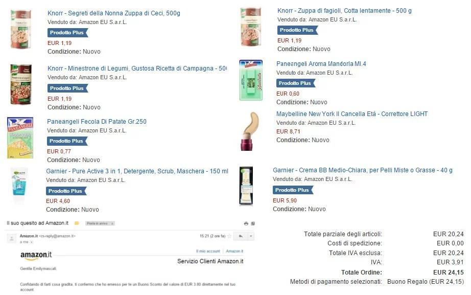 Spesa Gratis Buoni Amazon: vi racconto la mia spesa