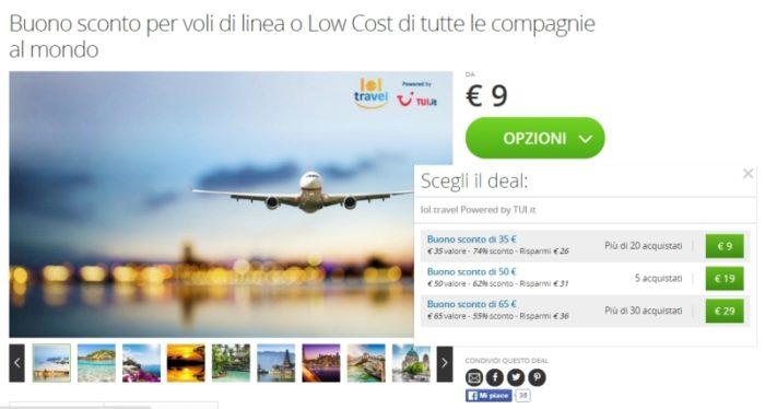 Buoni sconto per voli di linea o Low Cost di tutte le compagnie su Groupon