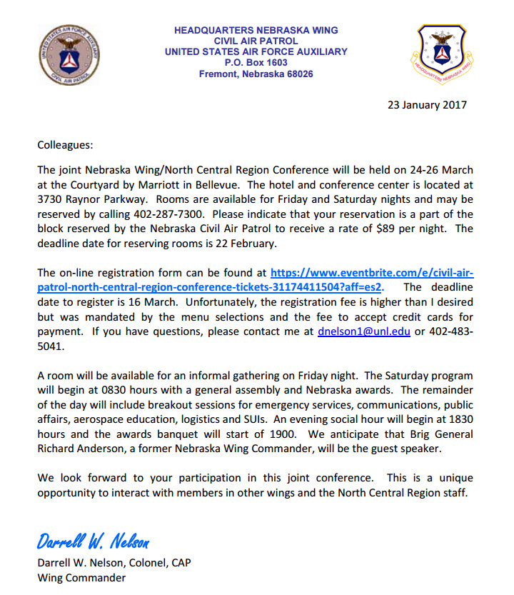 civil air patrol letter of recommendation