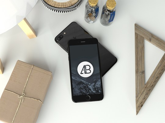 Realistic Jet Black Iphone 7 Plus Mockup by Anthony Boyd