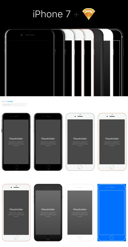 iPhone 7 Sketch Template by Denis Rojčyk