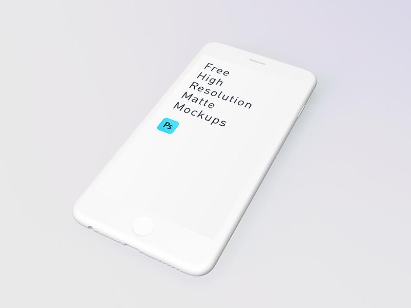 Free White Matte iPhone Mockup PSD