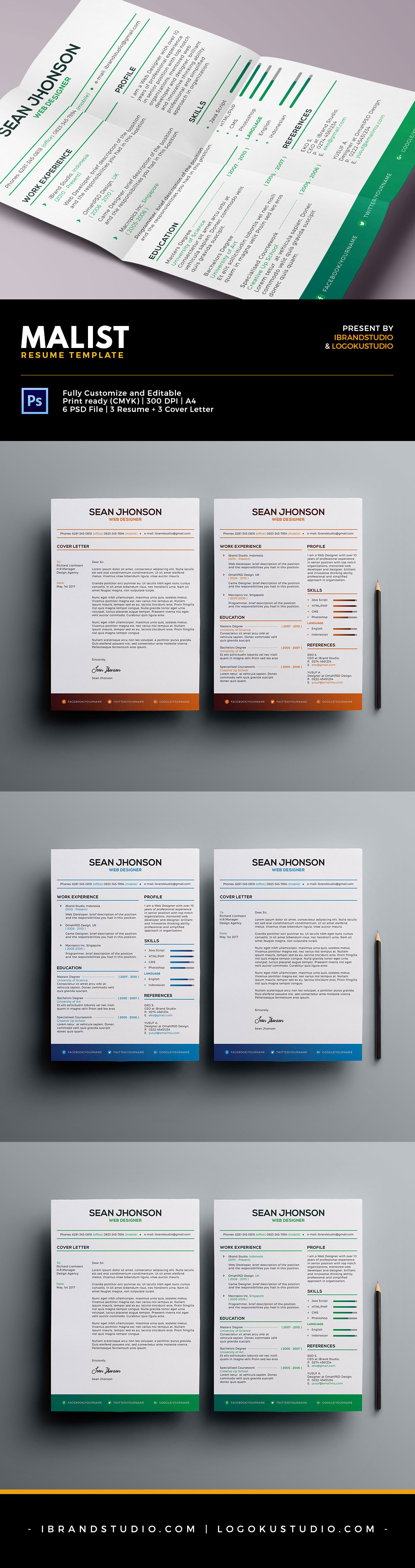 Malist Resume Template and Cover Letter