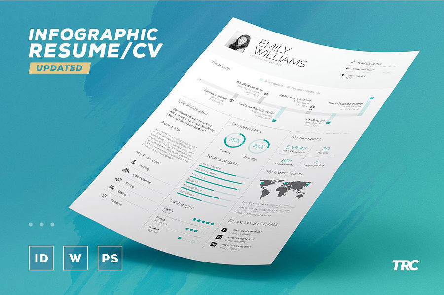infographic resume template  indd  idml  psd  docx  pdf